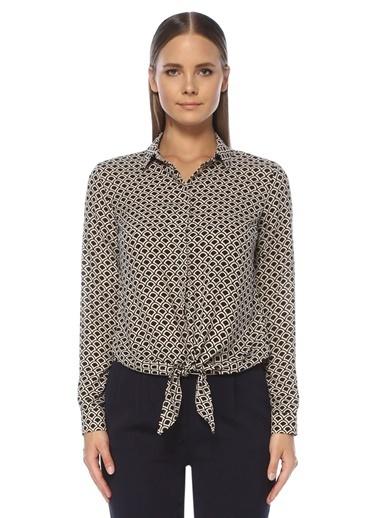 NetWork Kadın 1073820 Regular Fit Desenli Bağcıklı Gömlek Bej